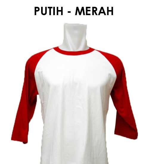 Raglan Putih Merah Abu Desain Kaos